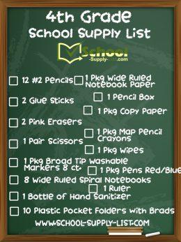 4th Grade School Supply List 2020