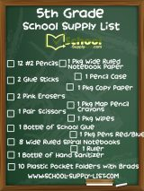 5th Grade School Supply List