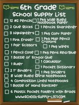 6th Grade School Supplies List 2020