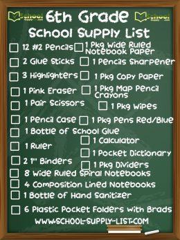 6th Grade School Supplies List 2020