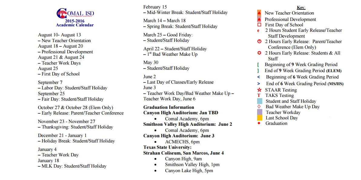 ... Valley High School - School District Calendar - Comal Isd - 2015-2016