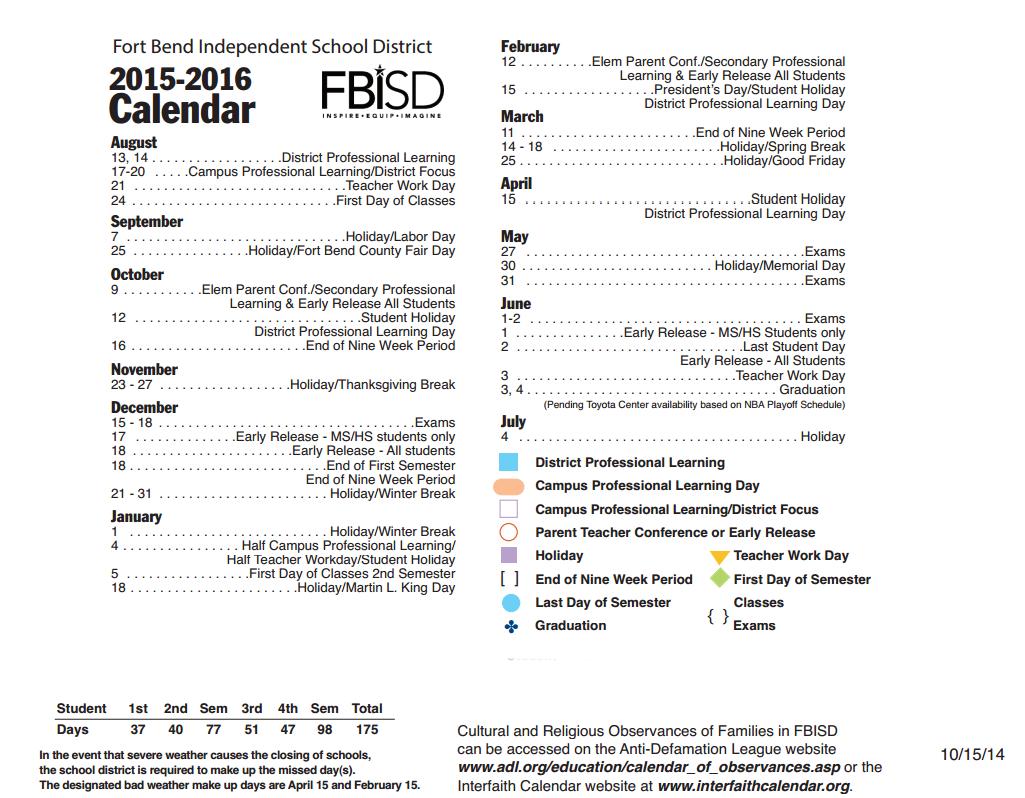Fort Bend Isd Calendar 2016 2020 Mission Glen Elementary   School District Instructional Calendar