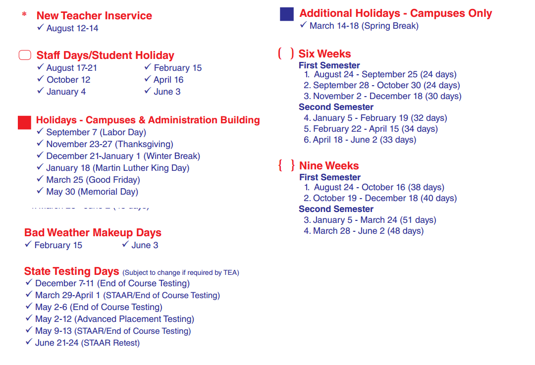 Woodland Acres Elementary - School District Instructional Calendar