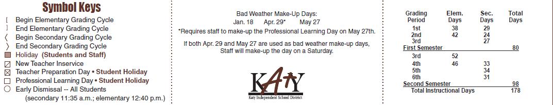 Mcroberts Elementary School District Instructional Calendar Katy