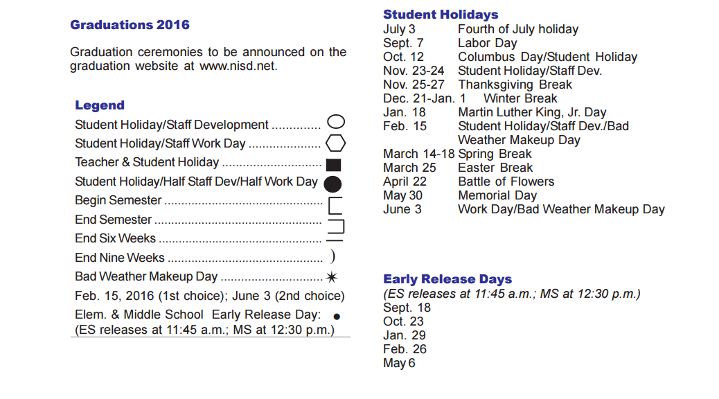 Scobee Elementary School School District Instructional Calendar