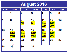 District School Academic Calendar for Dyess Elementary for August 2016