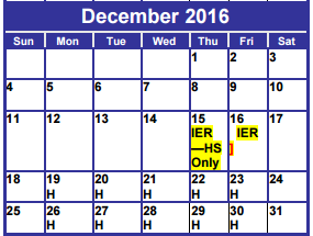 District School Academic Calendar for Dyess Elementary for December 2016