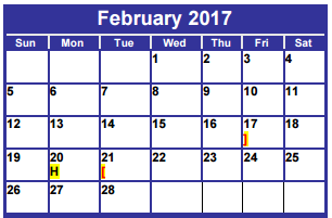 District School Academic Calendar for Dyess Elementary for February 2017