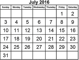 District School Academic Calendar for Dyess Elementary for July 2016