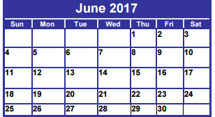 District School Academic Calendar for Dyess Elementary for June 2017