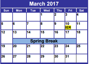 District School Academic Calendar for Dyess Elementary for March 2017