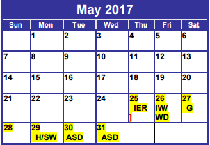 District School Academic Calendar for Dyess Elementary for May 2017