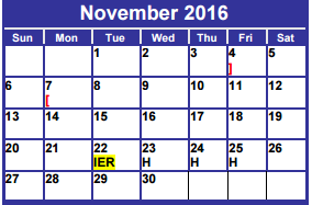 District School Academic Calendar for Dyess Elementary for November 2016