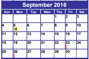 District School Academic Calendar for Dyess Elementary for September 2016