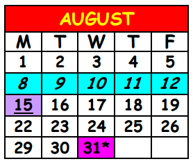 District School Academic Calendar for Lake Shore Middle School for August 2016