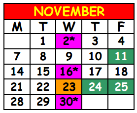 District School Academic Calendar for Lake Shore Middle School for November 2016