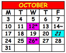 District School Academic Calendar for Lake Shore Middle School for October 2016
