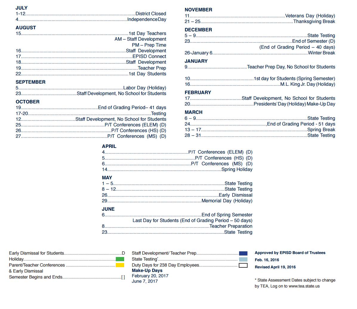 Silva Health Magnet School District Instructional Calendar El