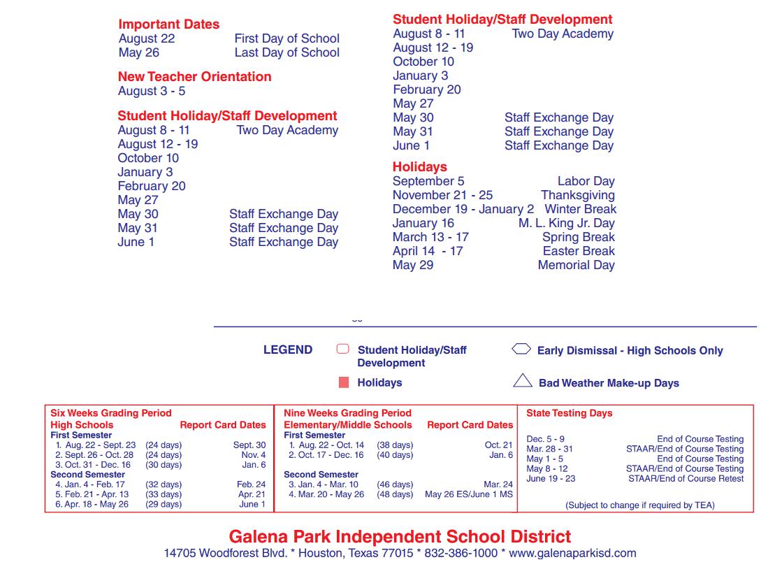 Northshore School District Calendar.Galena Park Elementary School District Instructional Calendar