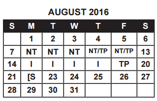 District School Academic Calendar for Ball High School for August 2016