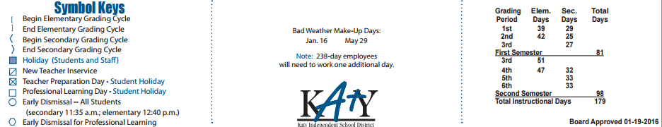 Cinco Ranch High School School District Instructional Calendar