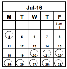 District School Academic Calendar for Pasadena Fundamental Elementary School  for July 2016