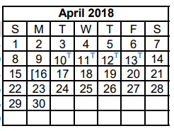 District School Academic Calendar for Dyess Elementary for April 2018