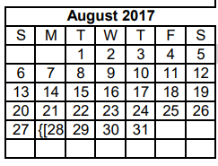 District School Academic Calendar for Dyess Elementary for August 2017