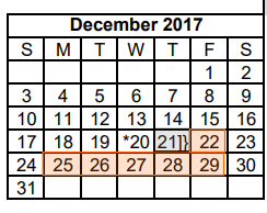 District School Academic Calendar for Dyess Elementary for December 2017