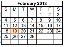 District School Academic Calendar for Dyess Elementary for February 2018
