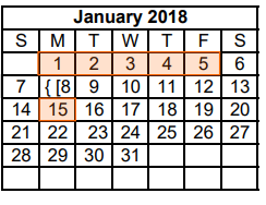 District School Academic Calendar for Dyess Elementary for January 2018