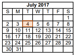 District School Academic Calendar for Dyess Elementary for July 2017