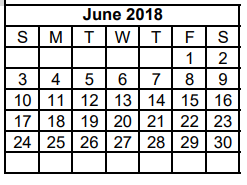 District School Academic Calendar for Dyess Elementary for June 2018