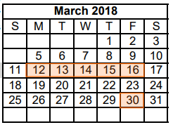 District School Academic Calendar for Dyess Elementary for March 2018