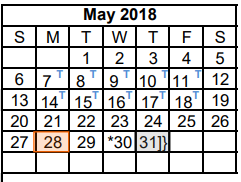 District School Academic Calendar for Dyess Elementary for May 2018