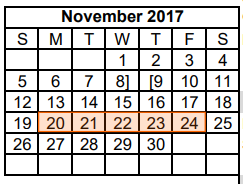 District School Academic Calendar for Dyess Elementary for November 2017