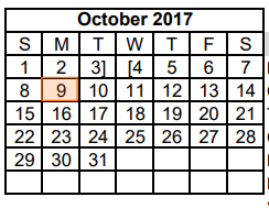 District School Academic Calendar for Dyess Elementary for October 2017