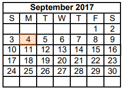 District School Academic Calendar for Dyess Elementary for September 2017