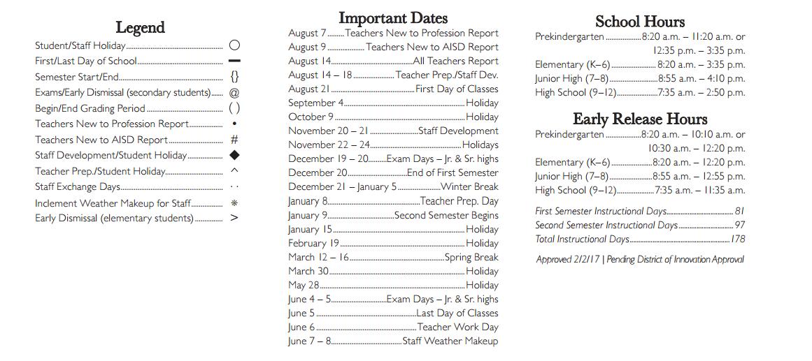 Arlington Isd Calendar 2017 16