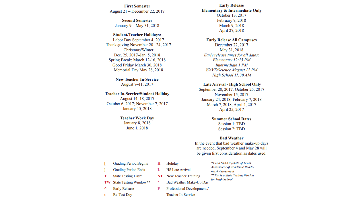 Wedgewood Elementary - School District Instructional Calendar ...