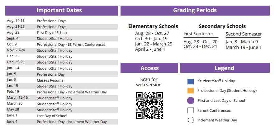 Lowery Elementary School School District Instructional Calendar