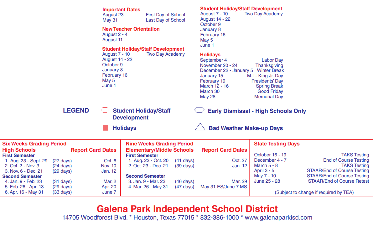 Galena Park Middle   School District Instructional Calendar