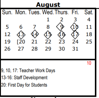 Skyline High School School District Instructional Calendar