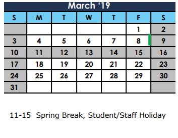 March Break 2019 Calendar Dobie High School   School District Instructional Calendar
