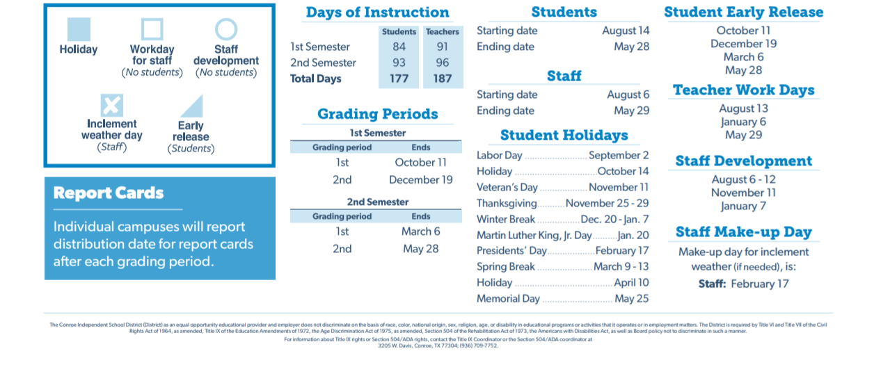 Conroe Isd Calendar 2019 2020.The Woodlands High School School District Instructional Calendar