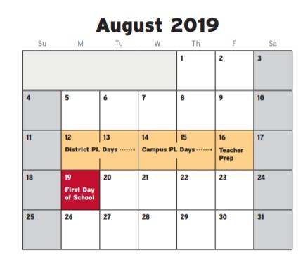 Fwisd Calendar 2020 Carroll Peak Elementary   School District Instructional Calendar