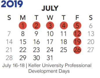 Keller Isd Calendar 2020 Park Glen Elementary   School District Instructional Calendar