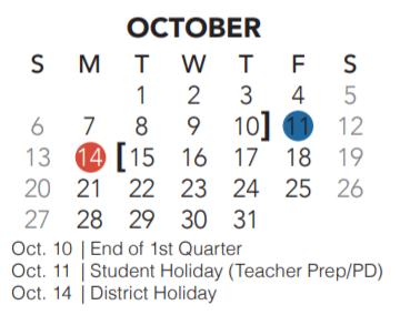 Parkview Elementary - School District Instructional Calendar