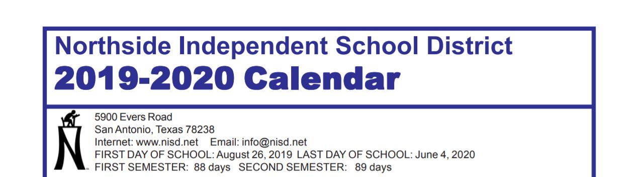 Nisd Calendar 2020 Murnin Elementary School   School District Instructional Calendar