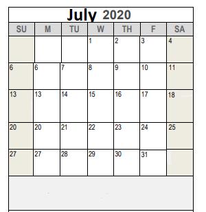 J T Stevens Elementary | 2020 2021 Academic Calendar For July 2020